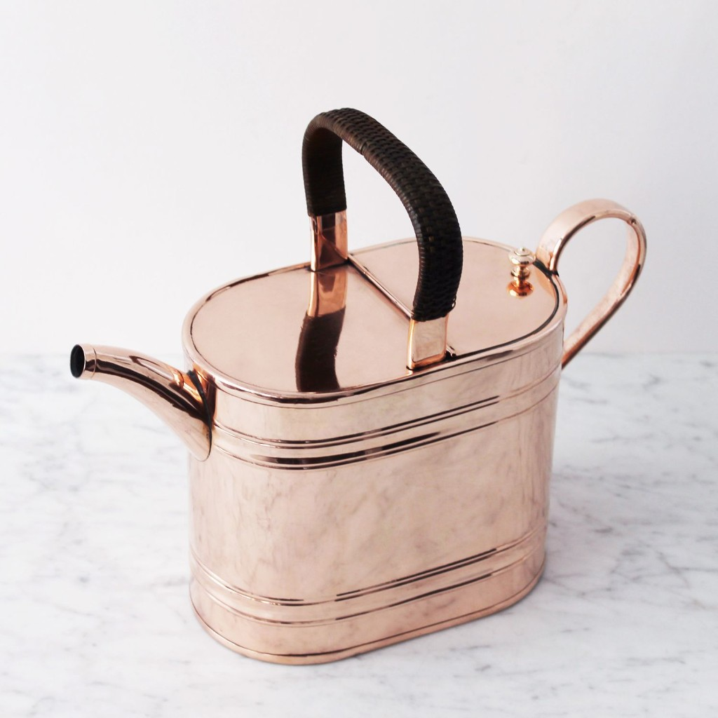 Vintage Copper French Watering Can with Raffia Handle, Late 19th Century