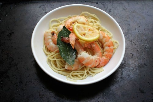 20-Minute, 20-Dollar Meals - Baked and Buttered Shrimp over Pasta
