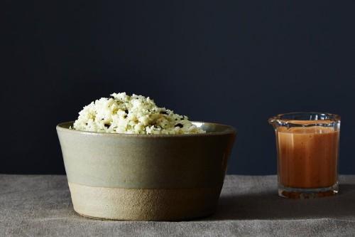 Mediterranean Cauliflower Rice with Smoky Red PepperSauce
