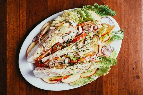 Napa Cabbage Wedge Salad with Apples and ButtermilkDressing