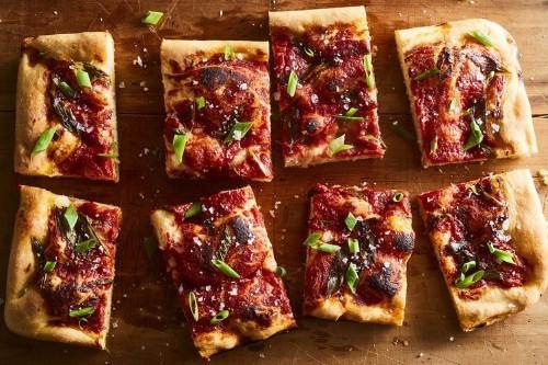 """""""Pizza"""" Focaccia with Tomato Sauce & GreenOnion"""