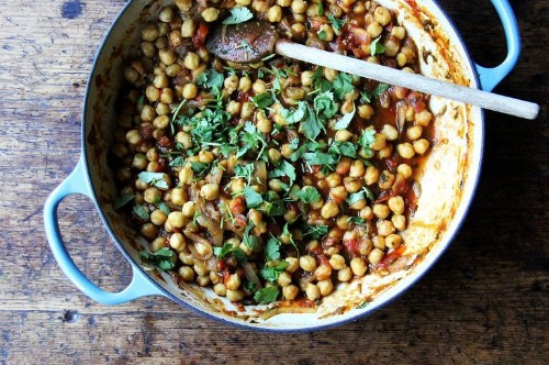 """Stewy Chickpea """"Tagine"""" with Tomatoes, Cilantro, and Golden Raisins"""