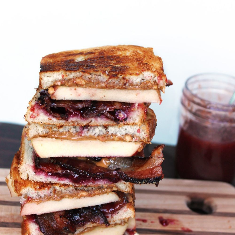 Grilled PB&J with bacon, apple, and pomegranate Recipe on Food52