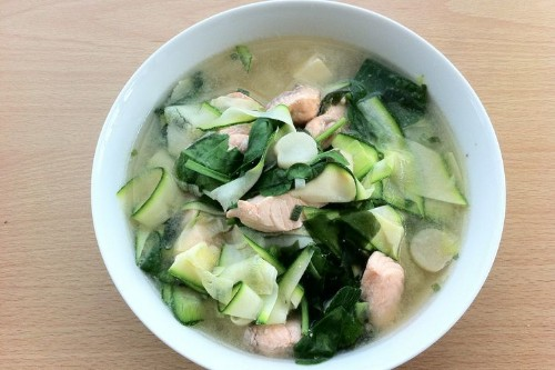 Miso salmon soup with zucchini noodles Recipe on Food52