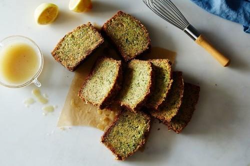 Gingery Olive Oil Zucchini Cake with Poppy Seeds and Lemon CrunchGlaze