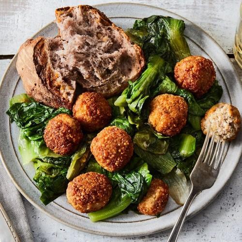 Quinoa-Chicken Meatballs With Garlicky Greens Recipe