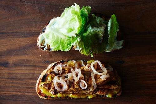 Balsamic Chicken Sandwich with Peach Jam and BrandiedOnions