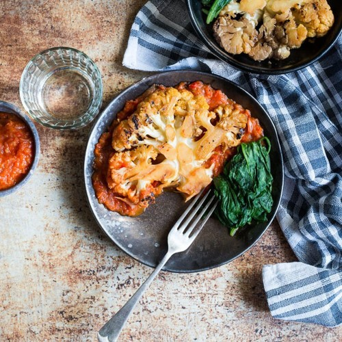 Cauliflower steaks with red pepper sauce Recipe on Food52