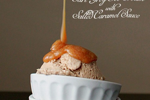 Earl grey ice cream with salted caramelsauce