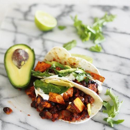 Maple chilli roast sweet potato and black bean tacos Recipe on Food52
