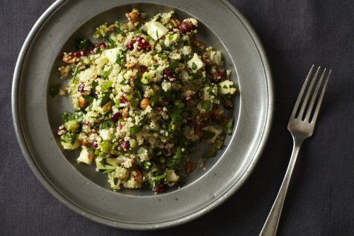 Quinoa Salad with Hazelnuts, Apple, and Dried Cranberries