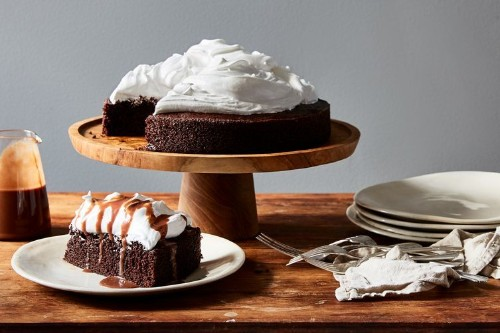 Hot Cocoa Cake with Peppermint-MarshmallowFrosting