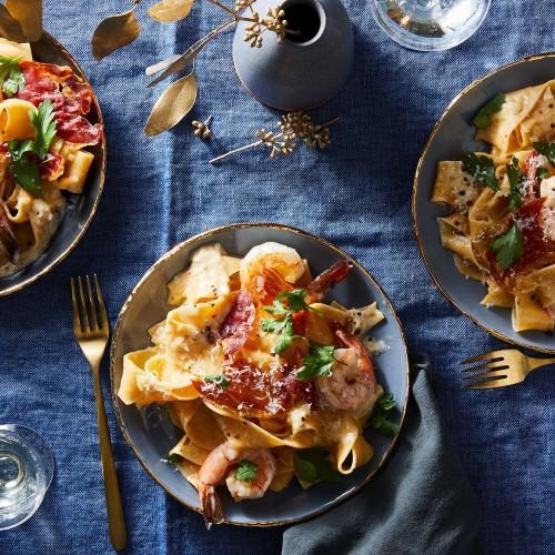 Champagne Alfredo with Crispy Prosciutto & Shrimp Recipe on Food52