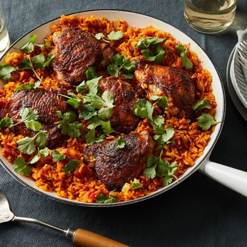 One-Skillet Chicken Thighs With Turmeric Rice Recipe