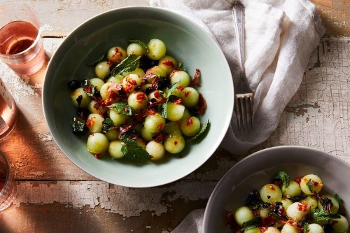 Honeydew With Prosciutto, Olives & Mint Recipe on Food52