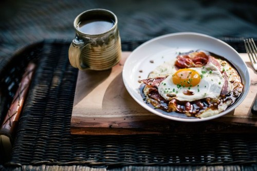 Goat Cheese Grits with Red Eye Gravy, Country Ham, and a Fried Egg Recipe on Food52