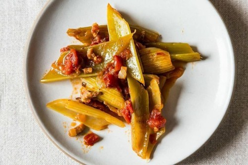 Marcella Hazan's Braised Celery with Onion, Pancetta, andTomatoes