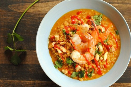 Spicy Coconut Risotto with LimeShrimp
