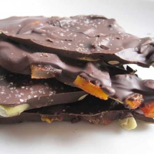 Dark Chocolate Bark with Chile-Spiced Mangos and Pepitas Recipe on Food52