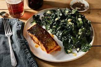 Buffalo-Glazed Salmon With Blue Cheese Kale Salad Recipe on Food52