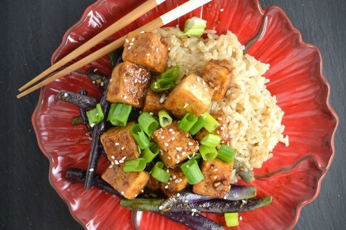 Mongolian Tofu and Green Beans withRice