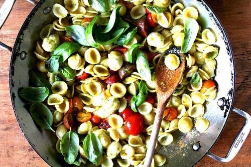 Orecchiette with Sautéed Cherry Tomatoes, Mozzarella and Basil Pesto Recipe on Food52