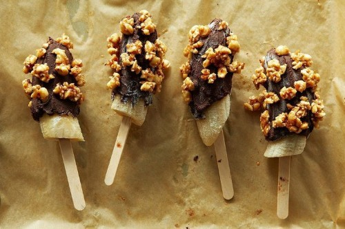 Frozen Bananas Dipped in Mexican Chocolate Ganache and Spicy Honeyed Peanuts Recipe on Food52