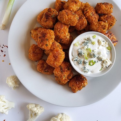 Buffalo Cauliflower Tots with Blue Cheese Dipping Sauce Recipe on Food52