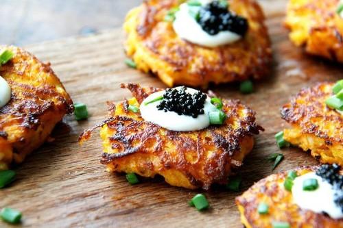 Sweet Potato Pancakes with Caviar and Crème Fraîche Recipe on Food52