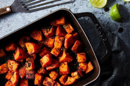 Nduja-Brown Butter Roasted Sweet Potatoes with Lime andChives