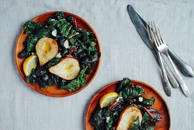 Roasted Pear and Rainbow Chard Salad Recipe