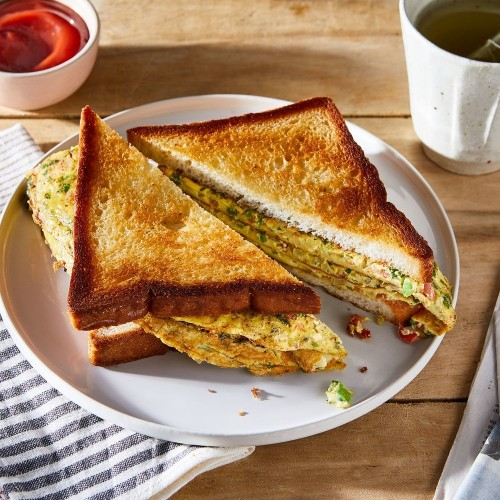 Indian Omelet Sandwich Recipe - How to Make Indian Omelette