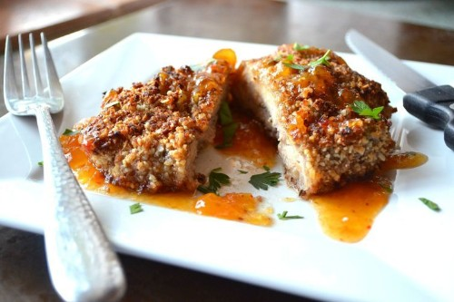 Coconut Pecan Crusted Chicken served with Sweet and Spicy ApricotSauce