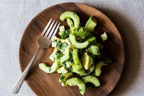 Crunchy Creamy Cucumber Avocado Salad Recipe