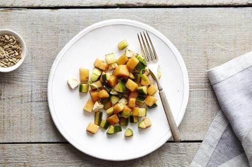 Cantaloupe Cucumber Salad with Basil andFeta