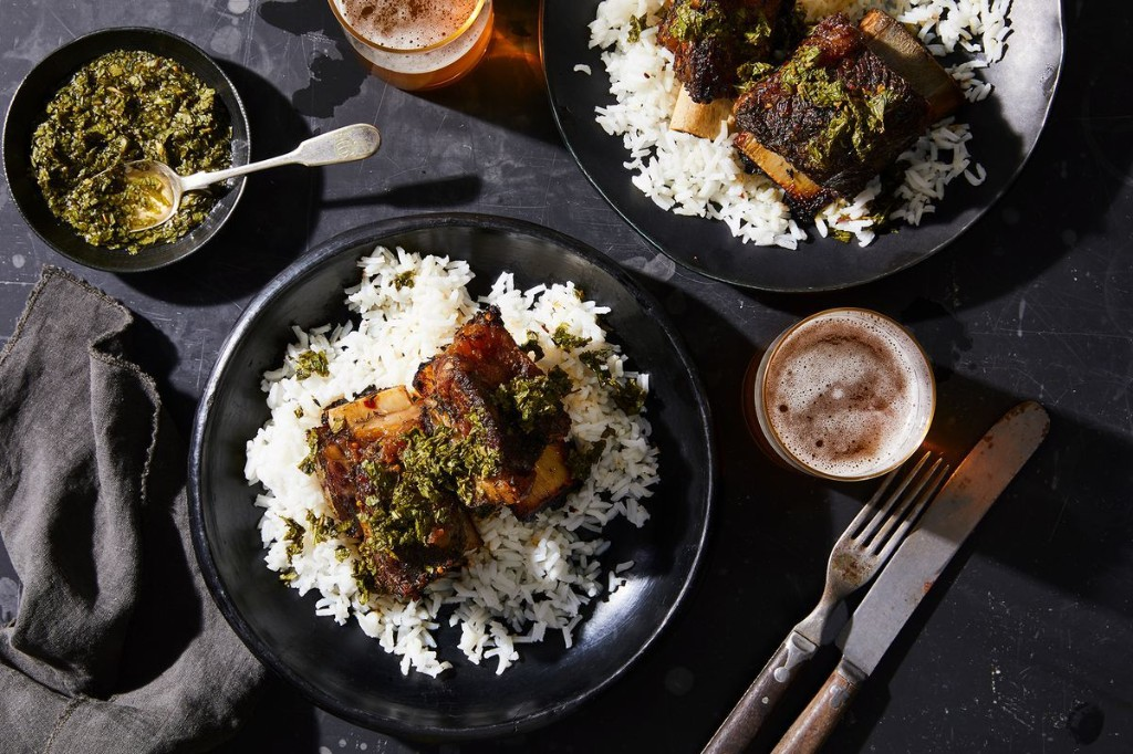 Instant Pot Beer-Braised Short Ribs With Fresh Mint Sauce