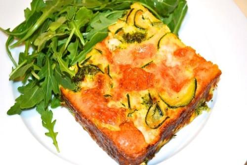 Broccoli, Zucchini and Red onion  CrustlessQuiche