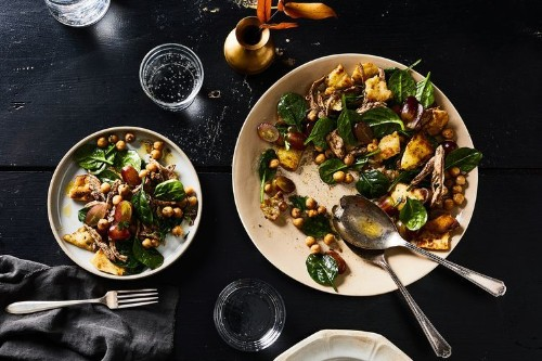 Warm Garam Masala Chicken Salad with Naan Croutons Recipe on Food52
