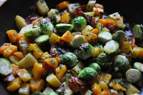 Roasted Cold Weather Vegetables with Prosciutto, Rosemary and Shallots