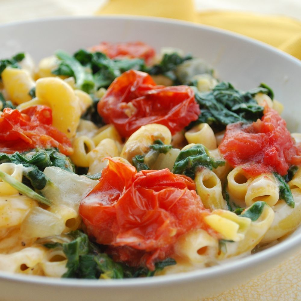 Monterey Jack & Macaroni With Spinach and Roasted Tomato Recipe on Food52