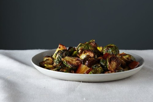 Roasted Brussels Sprouts With Pears & Pistachios