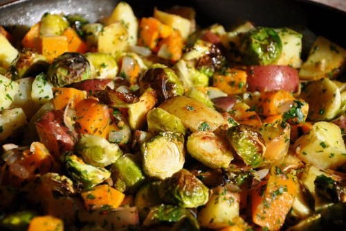 Roasted Squash, Potatoes and Brusslies with Fresh Herbs, Aromatics andVinegar