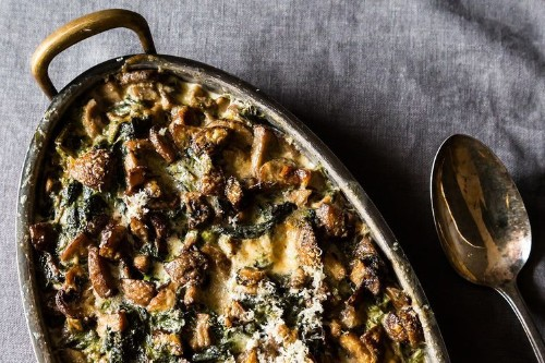 Spinach, Mushrooms, and Cream forDinner