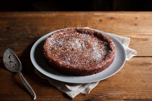 Almost Flourless Chocolate Cake with Meyer Lemon WhippedCream