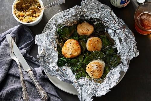 Foil-Packet Scallops With Caper-Raisin Butter Recipe on Food52