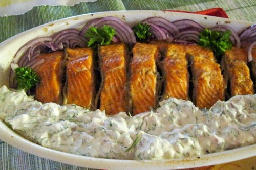 Salmon Roasted With Anchovies and Served with Anchovy MayonnaiseTzatziki