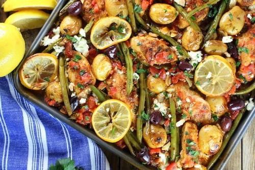 Greek Chicken Sheet Pan Dinner with Green Beans andFeta
