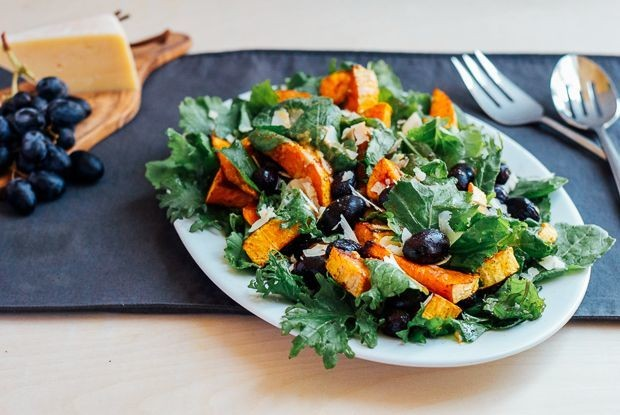 Roasted Grape and Butternut Squash Salad with Kale andParmesan