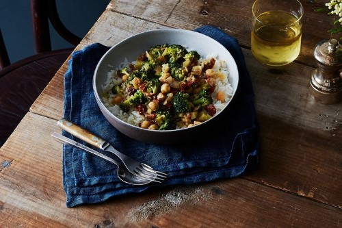 Coconut Braised Chickpeas and Broccoli
