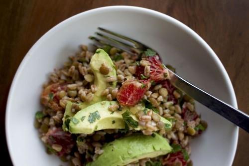 Lentil, Avocado, and Farro Salad Recipe